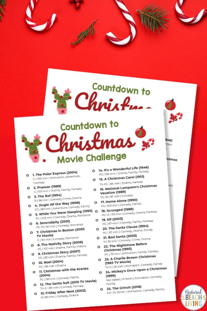 25 Day Christmas Movie Challenge Free Printable List