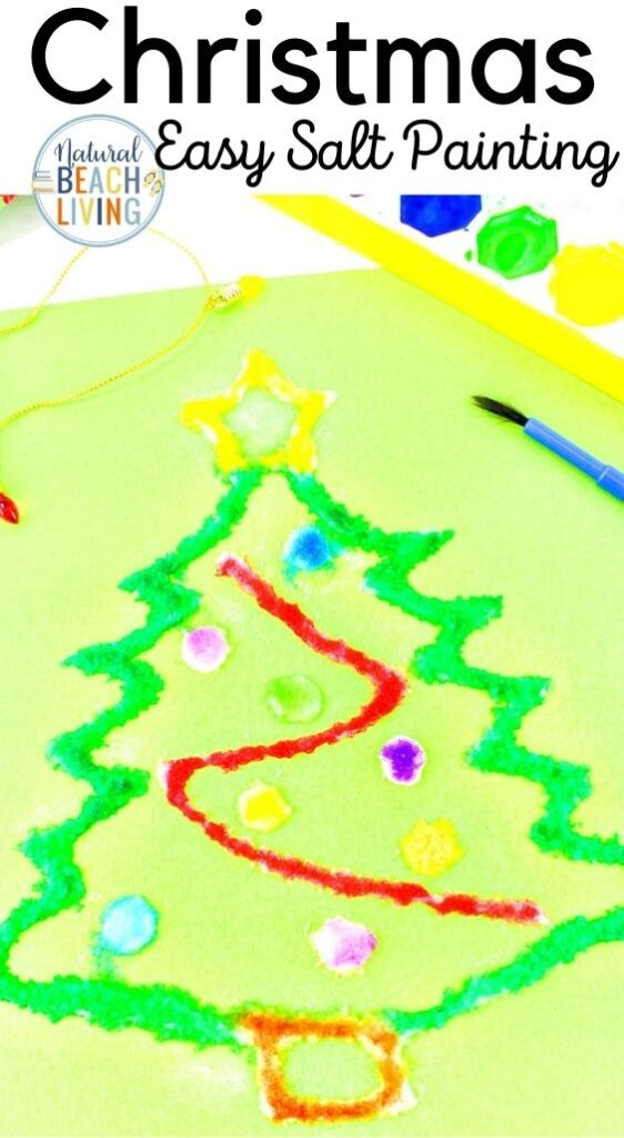 How to Make The Best Christmas Salt Painting, This is a fun and easy process art activity for kids! Watercolor Salt Painting, Christmas Preschool Craft, Fun Winter craft kids love, Preschool process art for Christmas, Christmas tree crafts for kids