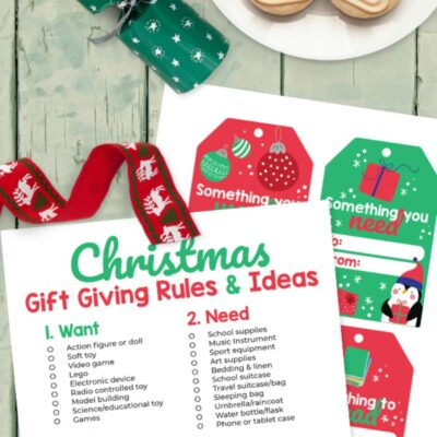 Four Gift Rule for Christmas Printable and Free Christmas Gift Tags