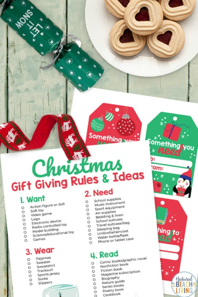 Four Gift Rule for Christmas Printable that includes Holiday Gift Tags, Learn all about the four gift rule for Christmas and get great gift ideas. The 4 gift rule for Christmas is a Christmas Challenge worth doing. A Christmas Wish List for want, need, read, and wear ideas.