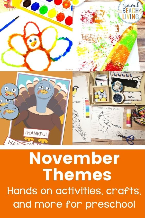 Fun Month of November themes and activities for preschoolers.  TONS of ideas of themes to use in your preschool classroom and preschool homeschool this November! Includes fall and Thanksgiving crafts, activities, ideas, and much more! Thankful theme, fall themes, and pumpkin theme included. #preschool #preschoolthemes #preschoolactivities