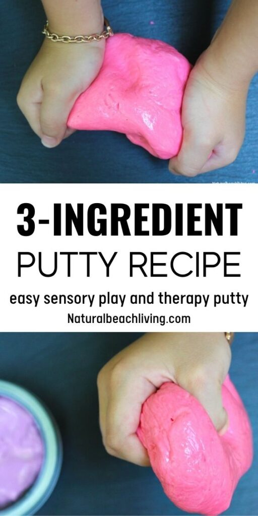 Putty Recipes for kids is a super easy way to create silly putty and Therapy Putty using common household ingredients. This DIY Putty recipe takes less than 5 minutes to make and kids LOVE squeezing, pulling, stretching, and playing with their Putty.
