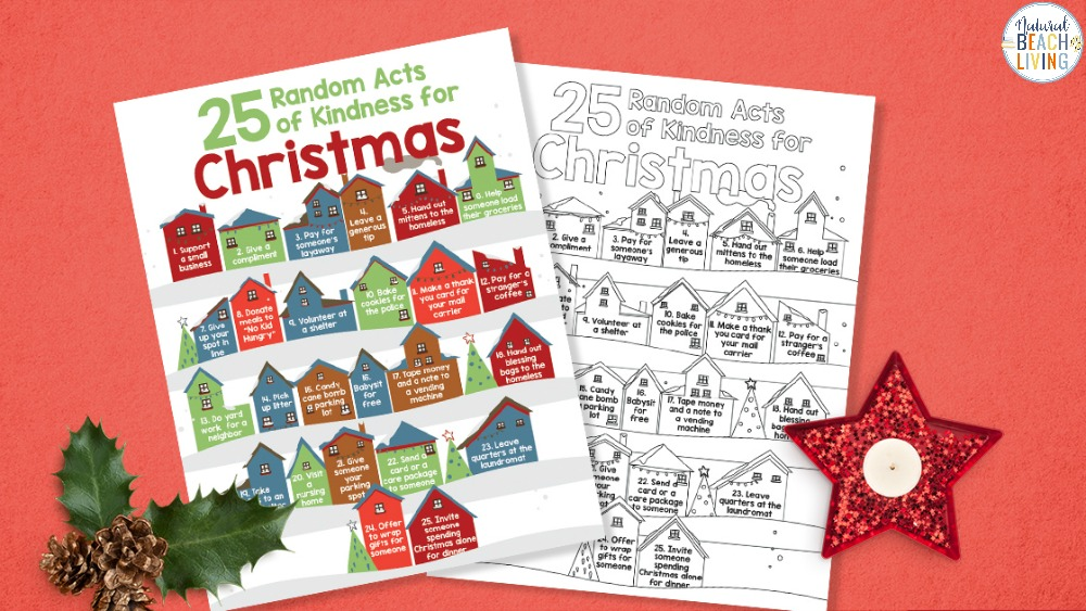 Random Acts of Kindness for Christmas and Random Acts of Kindness Coloring Pages full of ideas for being kind and practicing gratitude. Acts of Kindness Ideas with free printables to hang up and check off. Perfect ideas to bring Christmas Cheer all month long.