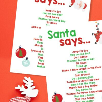 Christmas Movement Activities for Kids Free Printable
