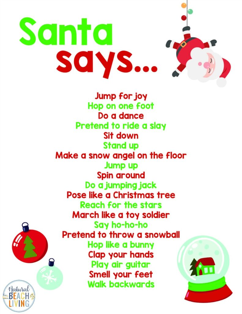 Christmas Movement Activities for kids, These Winter motor movement activities and indoor games require simple supplies to keep your child moving around and entertained all season long. Free Santa Movement Activities for kids and Movement Games with Santa activities for kids