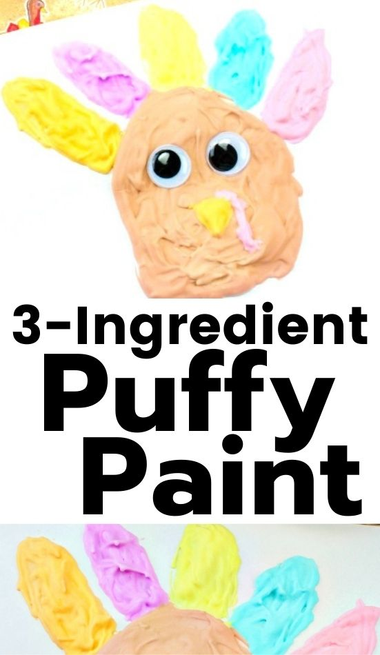 Your kids will love painting with this Homemade Puffy Paint Recipe for November kids activities. These puffy paint turkeys are so cute. Your children are sure to love making this simple fall art activity. This easy Thanksgiving Craft makes the perfect puffy paint turkey. Thanksgiving preschool crafts, Turkey craft