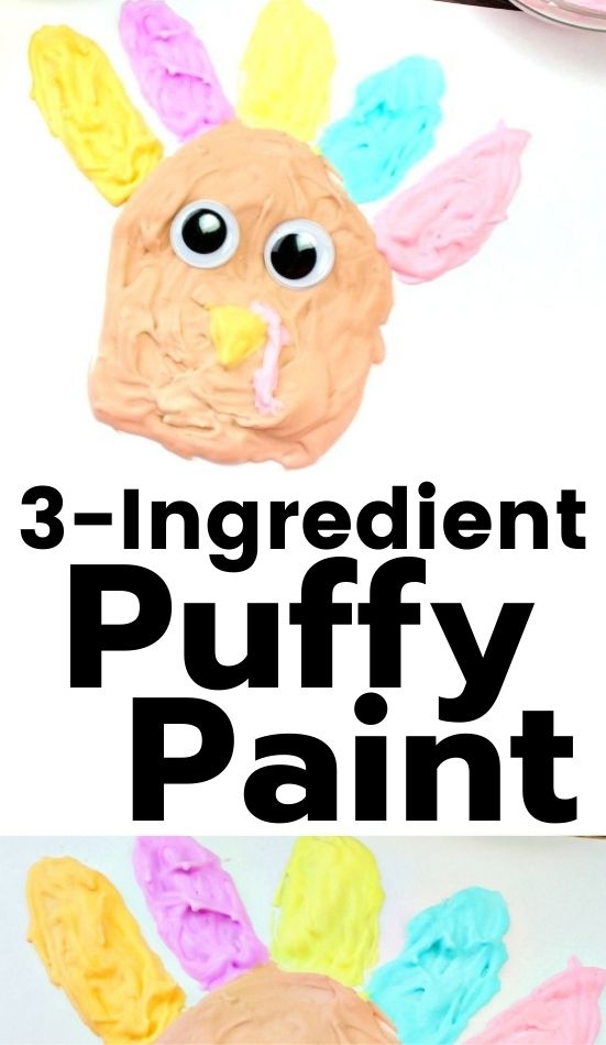 Your kids will love painting with this Homemade Puffy Paint Recipe for November kids activities. These puffy paint turkeys are so cute. Your children are sure to love making this simple fall art activity. This easy Thanksgiving Craft makes the perfect puffy paint turkey. Thanksgiving preschool crafts, Turkey craft #Thanksgiving #preschoolcrafts