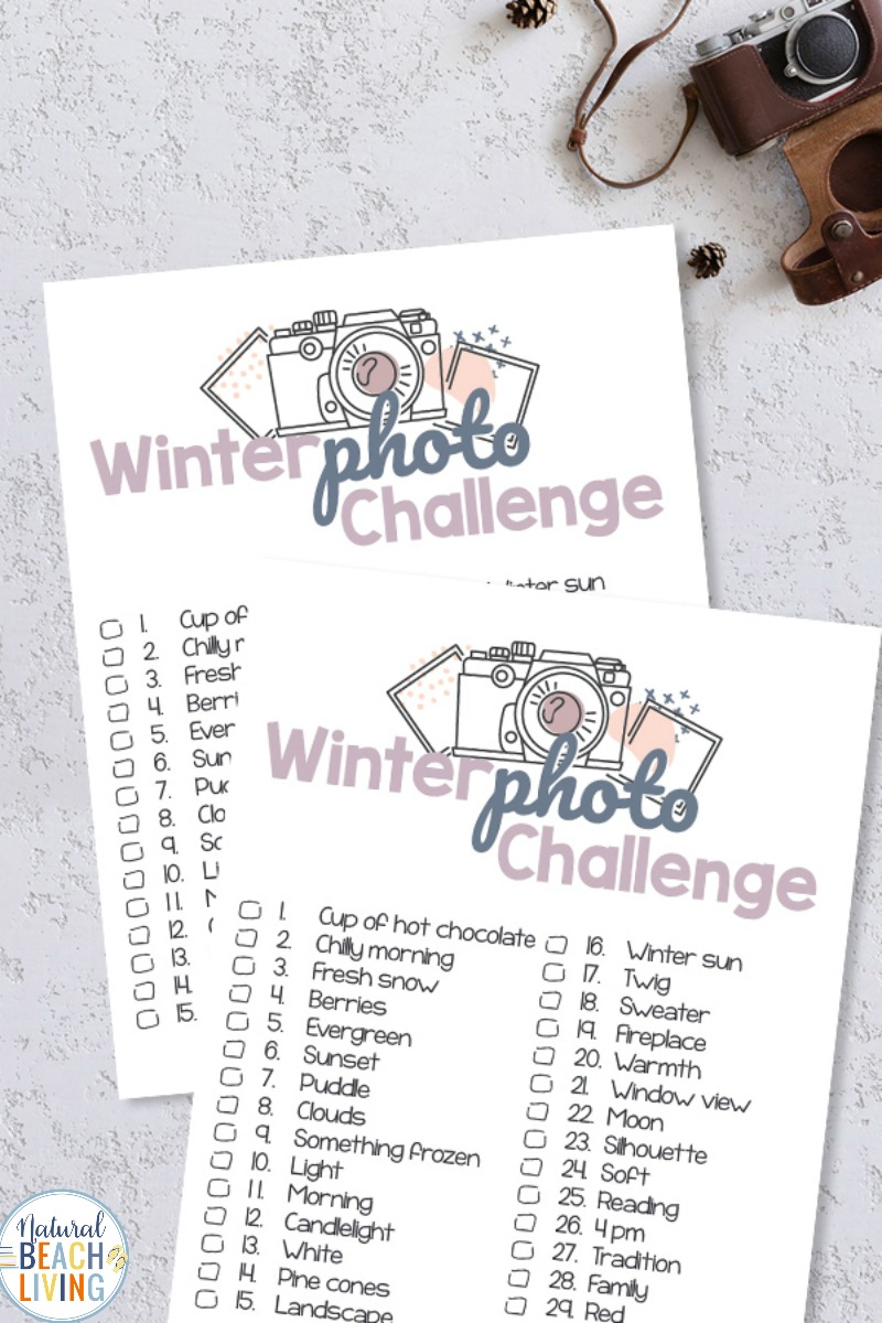 Winter Photo Challenge – 30 Day Challenge Ideas with free printables