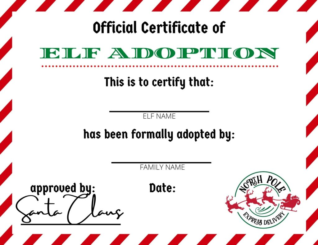 The kids are certain to go crazy about this Elf Adoption Certificate! They'll love being able to adopt their own Elf on the Shelf. Add free elf on the shelf printables to your month of holiday fun, Plus this Elf Certificate Printable is Free and Making your elf on the shelf official is so simple.