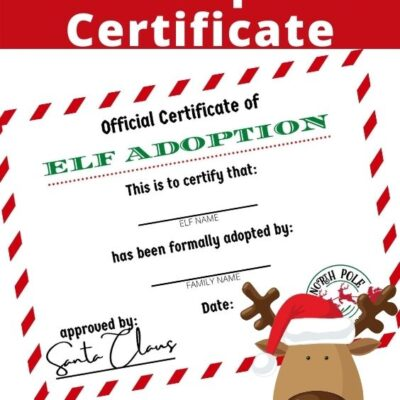Elf Adoption Certificate Free Elf on the Shelf Printables