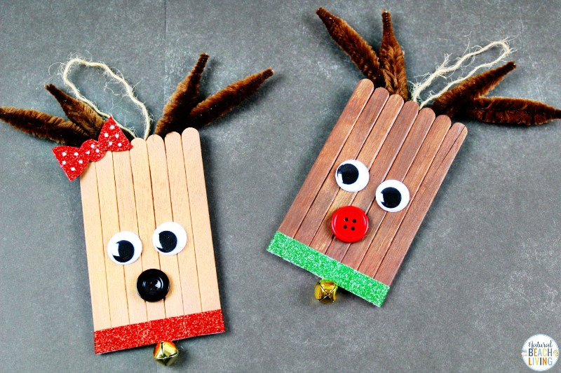 These Rudolph Popsicle Stick Crafts are easy Christmas Crafts for Kids to make! Make these cute reindeer crafts for kid friendly handmade ornaments! These Easy Ornaments to Make are the perfect winter craft with popsicle sticks