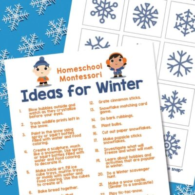 Montessori Activities for Winter and Winter Printables