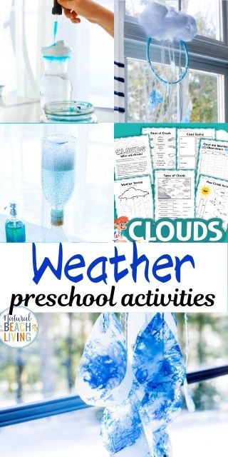 Weather Preschool Theme, simple yet educational activities to learn all about weather and clouds, lots of weather themed science experiments, and great STEM activities for your preschooler to learn all about the weather! Weather Movement Activities for Preschoolers, Weather Science Activities for Preschoolers, Preschool Books about Weather, How to teach Weather to Preschoolers