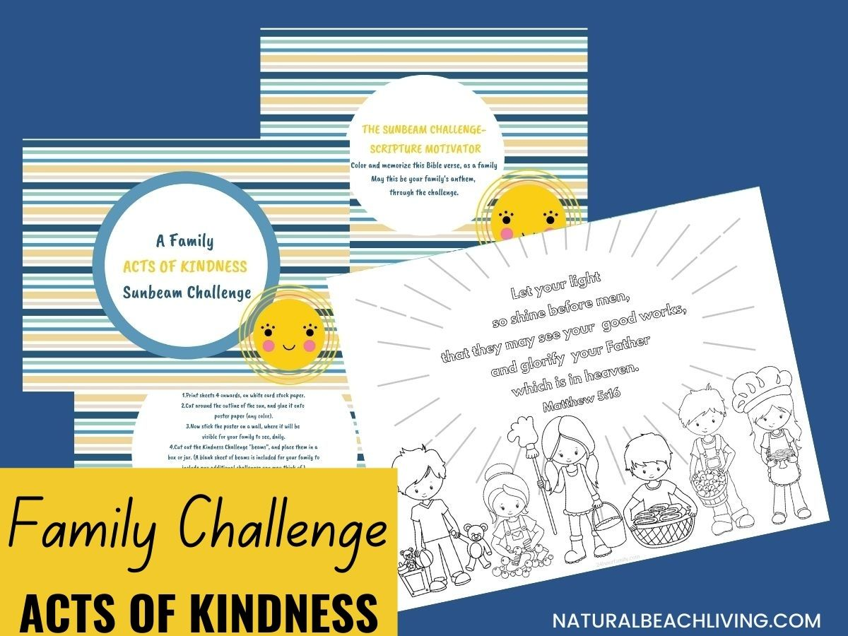 If you're looking for ways to Encourage Generosity and Kindness in your family, you're going to love the sunbeam acts of kindness challenge. This Family Acts of Kindness Sunbeam Challenge is a complete and Free Kindness Printable pack and makes perfect Acts of Kindness Ideas for Kids. Add Random Acts of Kindness a part of your life today.