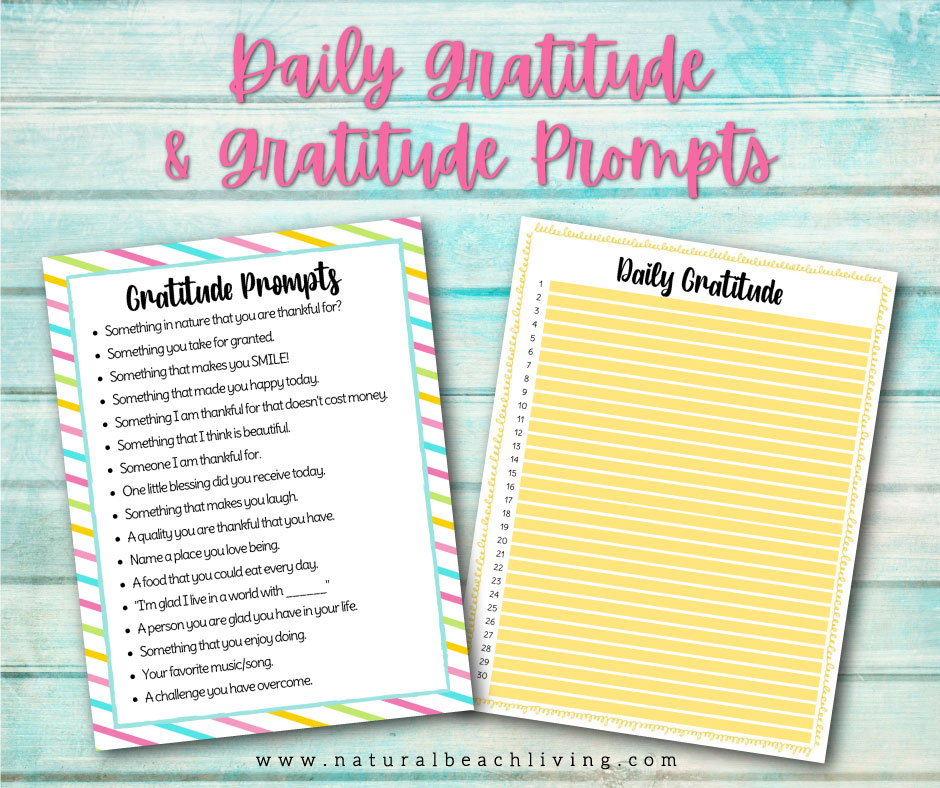 A Daily Gratitude List will put a positive spin on your day and help you to refocus. You'll also get a list of printable gratitude prompts and a page for your daily gratitude list. Get Daily Gratitude Examples and Ways to Practice Gratitude each day.