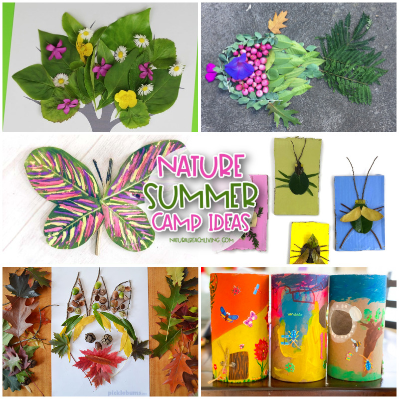 Add a few of these Nature Summer Camp Theme Activities to get your children enjoying natural materials and the great outdoors. Whether you are involved in a forest school, enjoy learning about nature, working on a nature theme, or just want a few fun outdoor activities, your kids will love these. These nature summer camp crafts can help make your child's outdoor experience more fun and engaging.