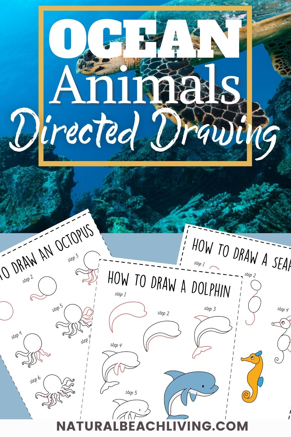How to Draw Ocean Animals, Grab a set of these ocean animals Directed Drawing for Kids printables, These cute sea creatures are super fun to draw. Simple how to draw a step by step tutorial. Whether you use these in an Ocean Unit Study or Drawing Challenge Ideas, Drawing Themes are so much fun!