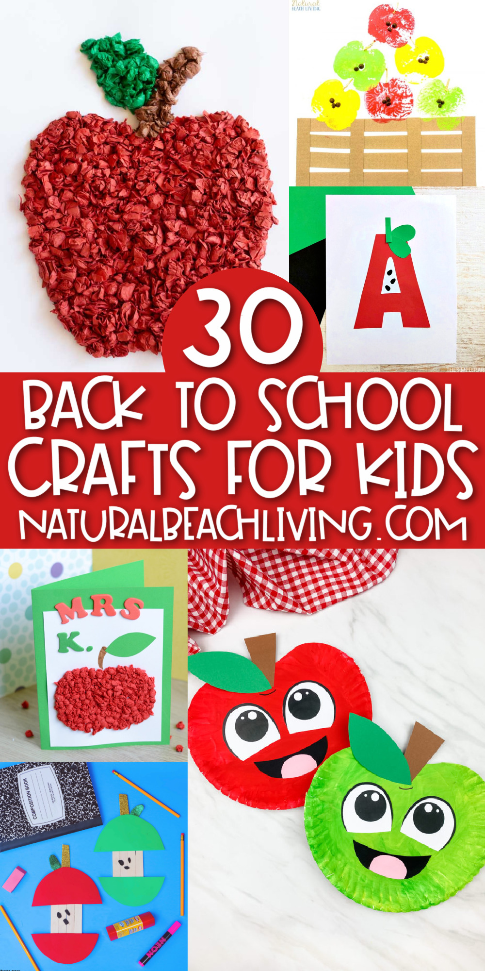 From back to school countdown chains to cute apple projects, these 30 easy and inexpensive crafts for kids. Get ready for the first day of school with these super cute and easy to create Back to School Crafts for preschool, kindergarten, first grade, and beyond.